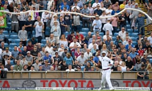 The Western Terrace beer snake takes shape during England's recent Test against West Indies.