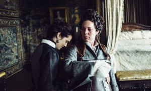 Rachel Weisz and Olivia Colman as Lady Sarah and Queen Anne in The Favourite.