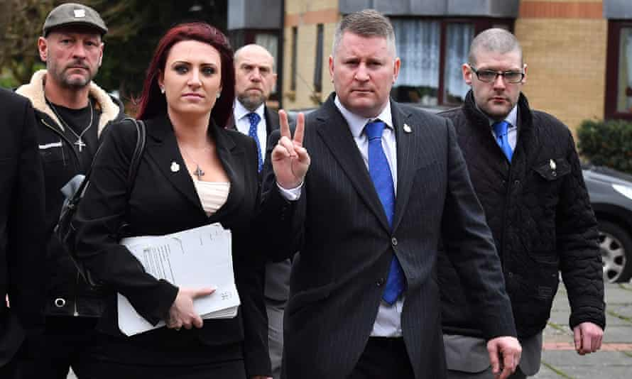 Britain First leaders Paul Golding (centre right) and Jayda Fransen.