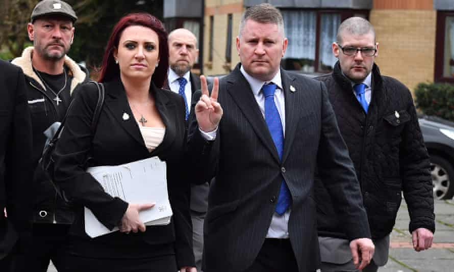 Britain First leaders outside court in February 2018