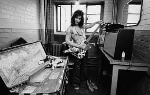 Eddie Van Halen from Van Halen poses backstage at Lewisham Odeon in London on 27th May 1978.