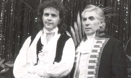 Frank Finlay with David Essex in the musical Mutiny!, 1985.