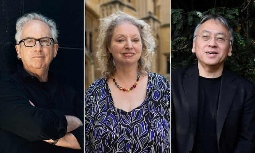 Booker winners Peter Carey, Hilary Mantel and Kazuo Ishiguro.