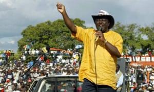Morgan Tsvangirai addresses an election rally in 2005