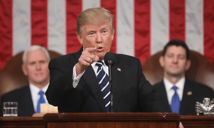 'Those who would harm us target the language' … Donald Trump addresses Congress.