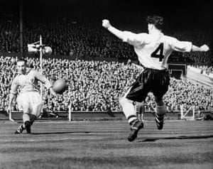 Stanley Matthews puts in the cross from which Bill Perry scores the fourth.