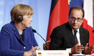 German Chancellor Angela Merkel and French President Francois Hollande at a press conference