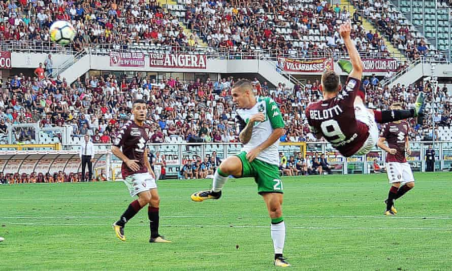 Torino's Andrea Belotti scores a spectacular overhead kick against Sassuolo