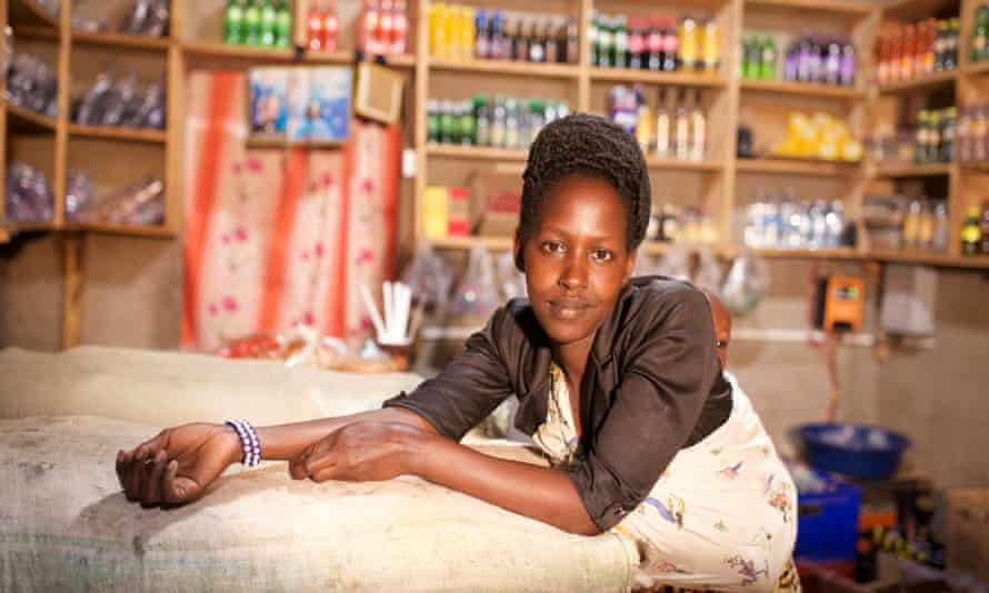 Shopkeeper Patience can now sell cold drinks and refrigerated food to support her family.
