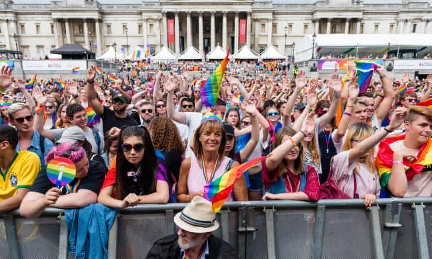 Trafalgar Square during Pride on 8 July.