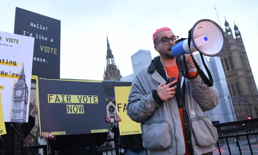Chris Wylie with megaphone
