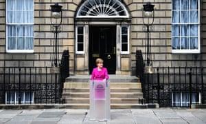 Nicola Sturgeon speaking outside Bute House in Edinburgh