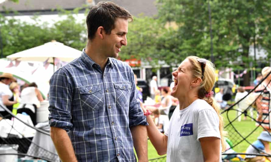 Brendan Cox, husband of the late MP Jo, with her sister, Kim Leadbeater, at at Great Get Together event in Heckmondwike, yesterday