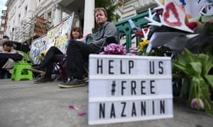 Richard Ratcliffe, the husband of imprisoned Nazanin Zaghari-Ratcliffe, protests outside the Iranian embassy in London earlier this year.