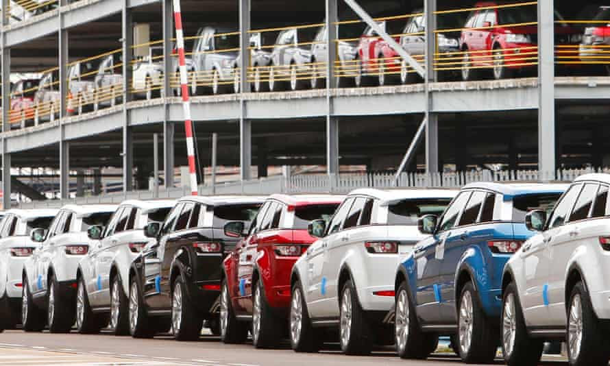 Range Rover Evoque cars, made by Jaguar Land Rover, sit at the docks in Southampton awaiting export.