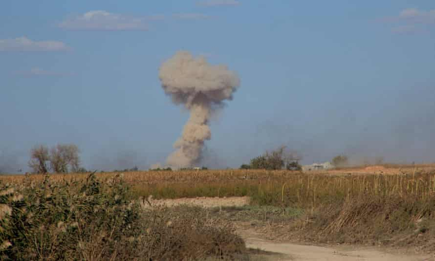 Smoke rises near the Kweyris military air base, east of Aleppo, during a military operation against Islamic State on Tuesday.