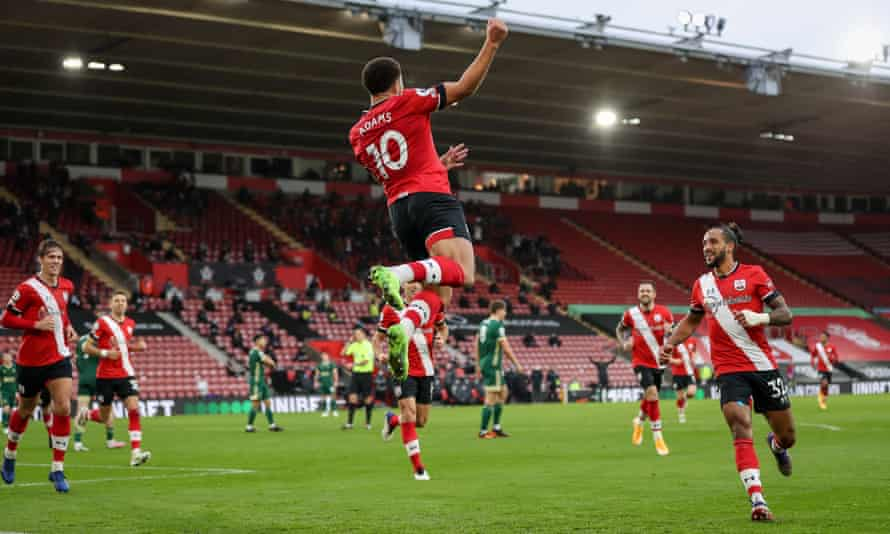 Che Adams leaps with delight after giving Southampton the lead against Sheffield United