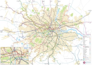 A geographically accurate network. This one does what it says on the tin... The map shows the accurate layout of the Tube network, and the realistic distances between each stop.