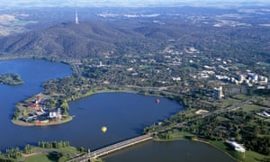 An aerial view of Canberra showing Lake Burley Griffin and the city centre.