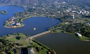 The view across the city of Canberra showing Lake Burley Griffin
