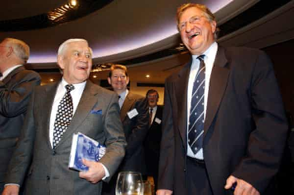 John Elliott and Australian football legend Lou Richards share a joke at the launch of Big Jack: My Sporting Life, which recounted Elliott's two decades as chairman of Carlton.