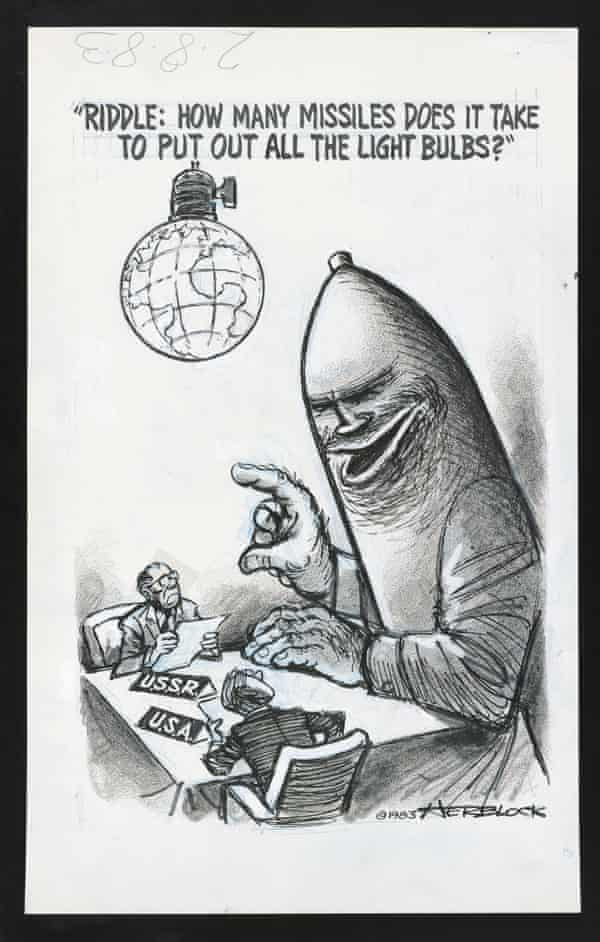 Herblock - Riddle: How Many Missiles Does it Take to Put Out All the Light Bulbs?, 1983