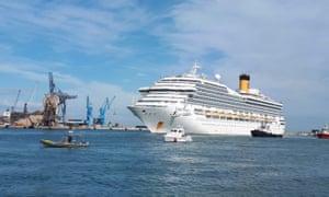 Costa Magica cruise ship docks in Italy amid the coronavirus pandemic on 28 April 2020.