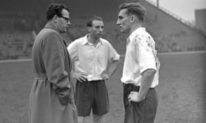 Roy Bentley (right) with the England manager Walter Winterbottom and teammate Stanley Matthews at half time during an England training match against Charlton in 1954.