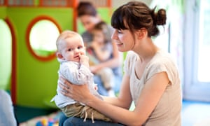 Mother and child at a day care centre