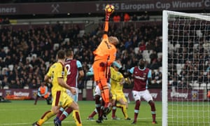 Darren Randolph stretches to deny Burnley, who put the hosts under pressure in the second half.