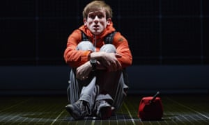 Graham Butler playing Christopher Boone in the play of The Curious Incident of the Dog in the Night-Time at the Gielgud Theatre, London.