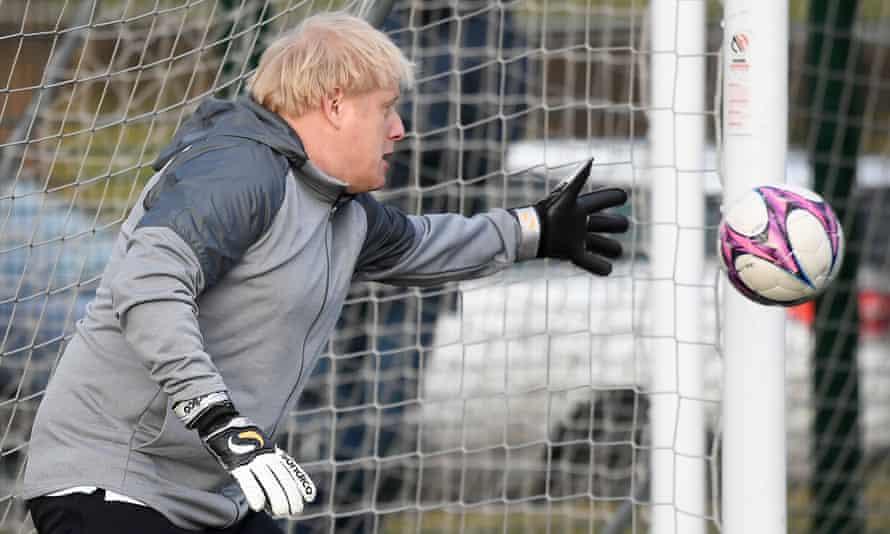 Boris Johnson lets a goal in