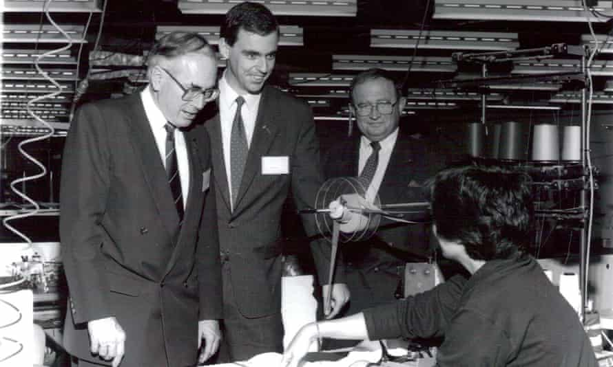 Neil Ennis on the campaign trail with John Howard as the Liberal party candidate for Brisbane in 1993, visiting the Stubbies clothing factory in Newmarket