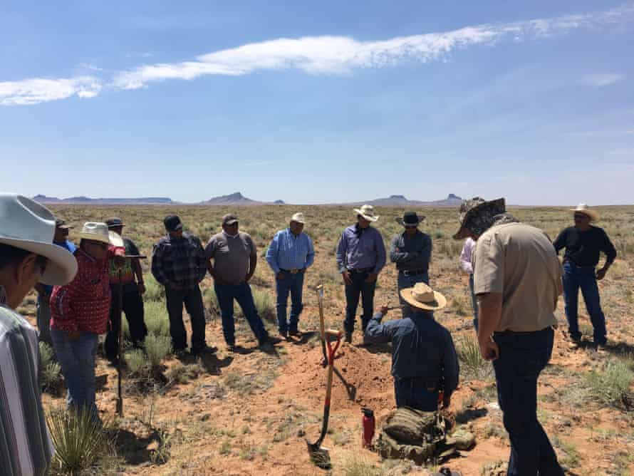 Native American farmers discuss natural herding tactics during the Intertribal Agriculture Council's 2019 Western Region Instinctive Migratory Grazing School, held on Hopi land.