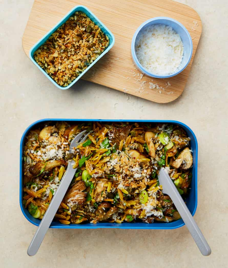 Yotam Ottolenghi's herby spiced mushroom orzo with parmesan and crisp bits.
