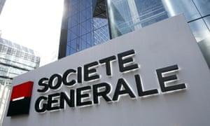 French bank Societe Generale's headquarters building in La Defense, Paris.