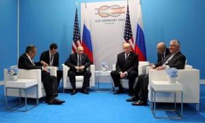 Lavrov, Putin, Trump, Tillerson and translators.