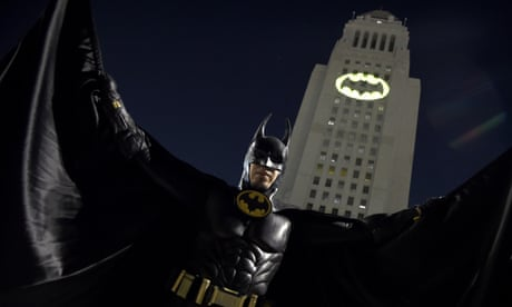 Bat sign lights up the sky over Los Angeles in a tribute to Adam West