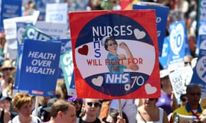 People march through London to mark 70 years of the NHS