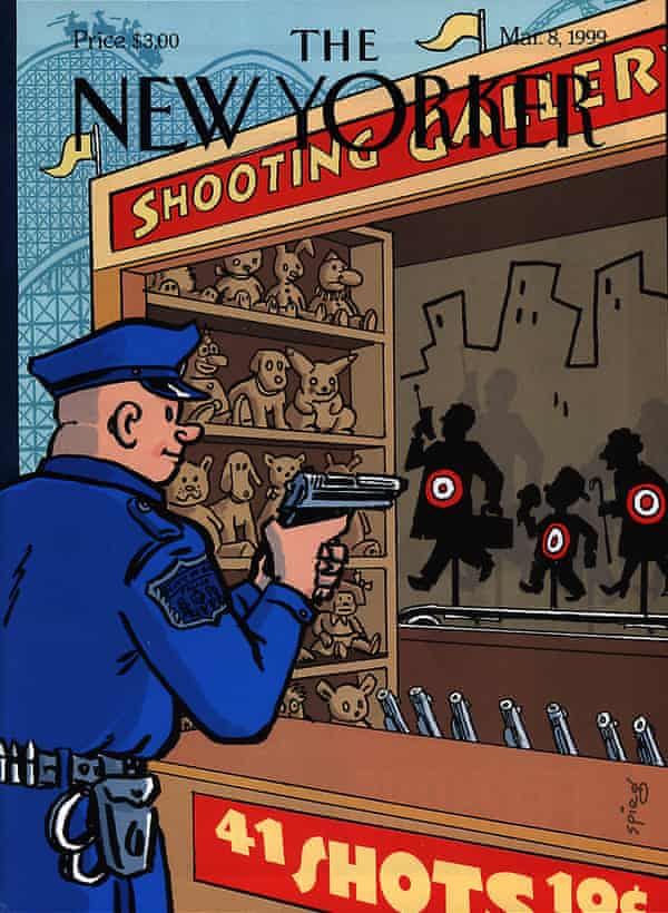 A New Yorker cover from 1999, drawn by Art Spiegelman. It alludes to the killing of Amadou Diallo, who was shot at 41 times by four officers.