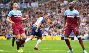 Leandro Trossard celebrates scoring Brighton's equaliser against West Ham