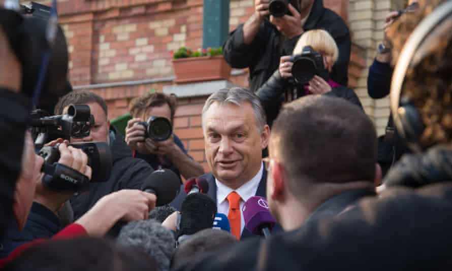 Parliamentary Election, Budapest, Hungary - 08 Apr 2018<br>Mandatory Credit: Photo by Xinhua/REX/Shutterstock (9588187c) Hungary's Prime Minister Viktor Orban talks to the media outside a polling station after he cast his vote in Budapest