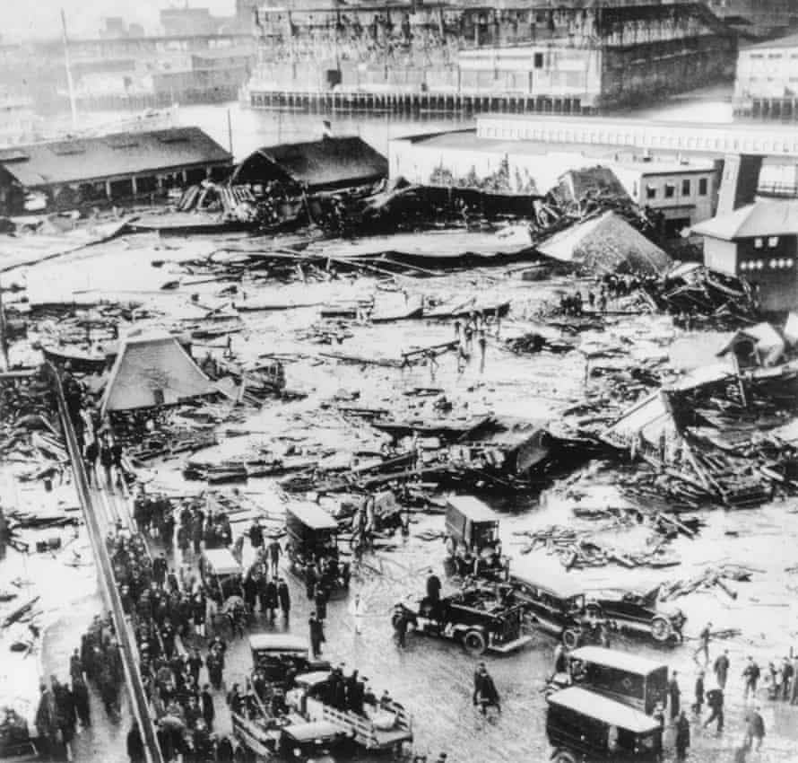 Boston Molasses DisasterOn January 15, 1919 a 50-ft. high, 90 ft.-wide cast iron tank with 2.2 million gallons of molasses burst in Boston, causing the Boston Molasses Disaster. The molasses gushed through the North End neighborhood at roughly 35 mph leaving 21 dead, 150 injured and homes and businesses crushed.