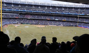 Fans watch New York City FC in their first game at Yankee Stadium in 2015. The club is still there nearly five years later.