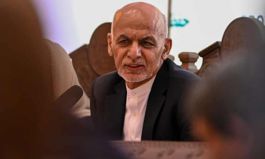 President Ashraf Ghani at a meeting in in the presidential palace on Wednesday.