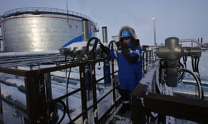 A Gazprom worker in the Gulf of Ob, northern Russia