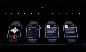 Apple's cycle tracking on display on an Apple Watch at the WWDC Keynote.