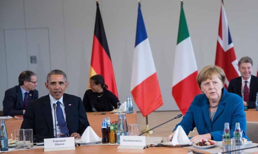 Barack Obama and Angela Merkel at a meeting of the G5 at Herrenhausen palace, Hanover, Germany.