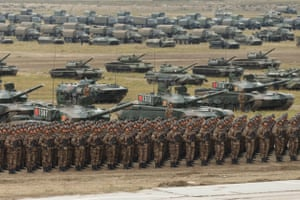 Chinese service personnel on parade