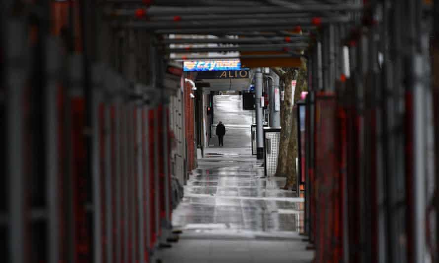 An empty street is seen in Melbourne